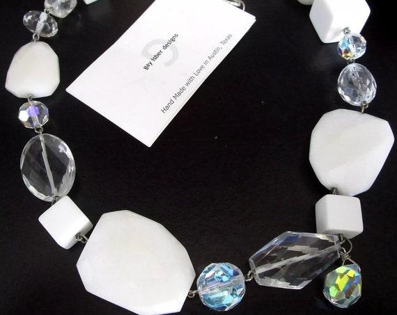 GAY ISBER Swarovski Crystal White Lucite Cube & Gems Beaded Custom Made Artistic Modern Statement Necklace