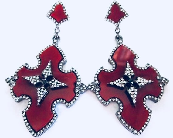 Blood Red Sparkling Ice Crystal Scalloped Gothic Maltese Statement Earrings
