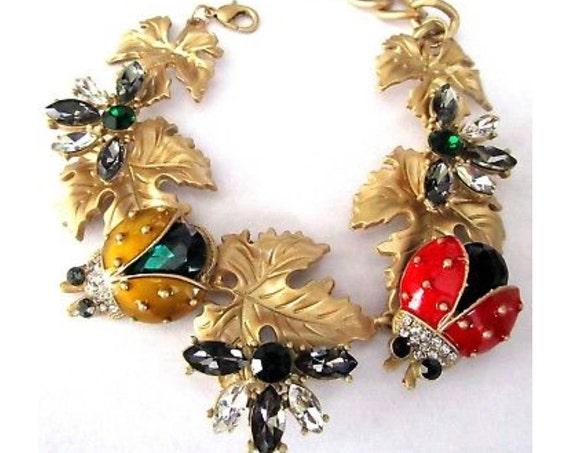 AMAZING Lady Bug & Bee Crystal Enamel Runway Charm Bracelet