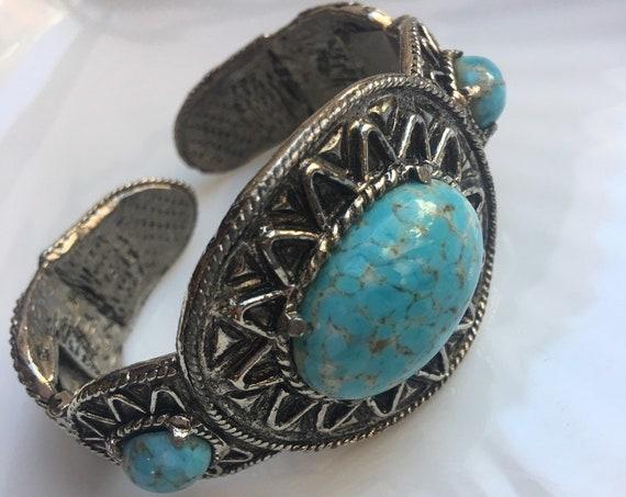 Boho Gypsy Cowgirl Faux Turquoise Vintage Western Cuff, Mid Century  Blue Stone Southwestern Bracelet, Big Bling