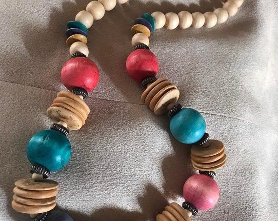 Modernist Rainbow Natural Wooden Bead Statement Necklace, Pretty Colorblock Pastel Color Wood Beads, Mid Century Eames Style Jewelry
