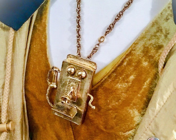 ET Phone Home! Amazing Counter culture Hip Hop Bling Huge Golden Telephone Pendant, so Edie & Warhol!