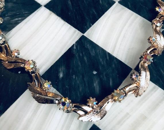 "Vintage AB Rhinestones & Lt Goldtone Signed ART size 16"" Bling  Necklace! Holidays Formal Wedding Prom or Sweet 16"