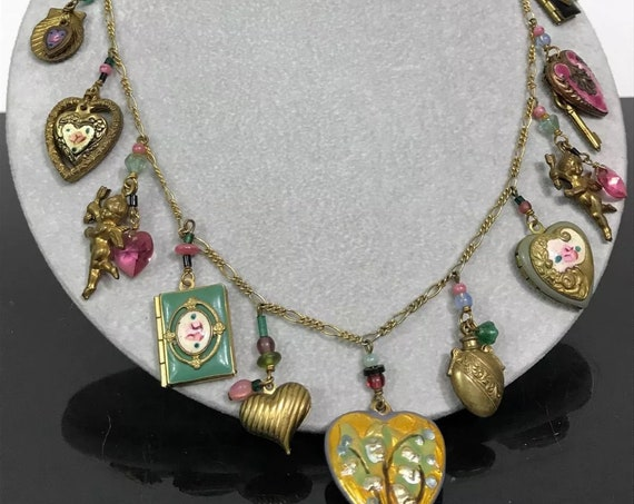 Designer Jewelry LUCY ISAACS NYC Guilloche Heart Charm Necklace, Sentimental Lockets, Cupids, Keys & hearts Victorian Revival Charm Necklace