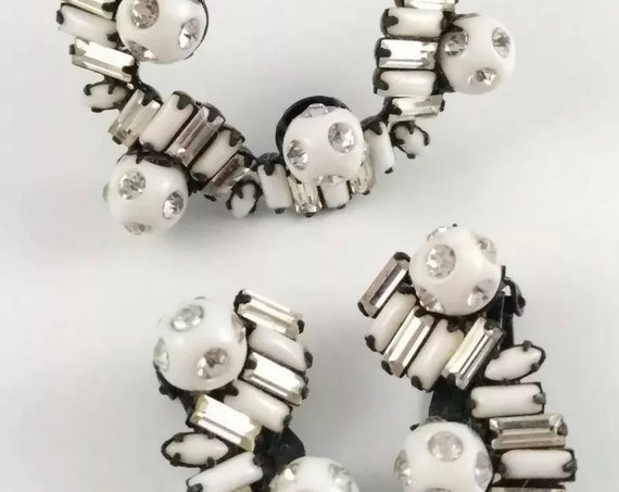 Modernist Black and Chalk White Spiraled Milkglass and Rhinestone Baguettes Gems Beads and Balls Unisex Lapel Pin & Earring Art Deco Jewelry