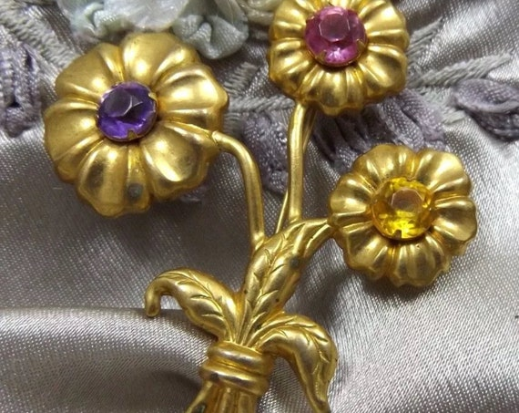 Art Nouveau Bouquet Brooch, Stamped Gold Tone Floral Pin with Purple Pink & Yellow Rhinestone Flowers, Unisex Lapel Pin