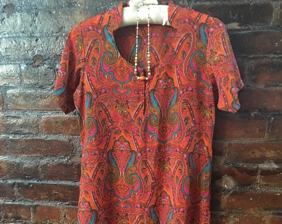Vintage Orange Paisley Silk Dress, Handmade size small