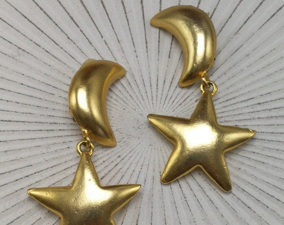 Awesome 80s Glam Celestial Statement Earrings, Matte Gold Tone Star and Moon Vintage Dangles, Big Bold Bling Clip ons