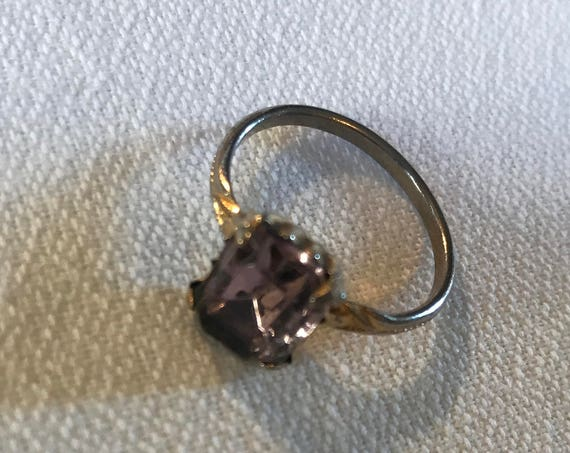 Antique Vintage purple Amethyst Emerald Cut Glass Rhinestone Birth Stone Ring