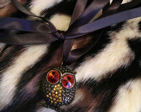 Bedazzled Gem Eyed Hooty Owl Pendant for Necklace