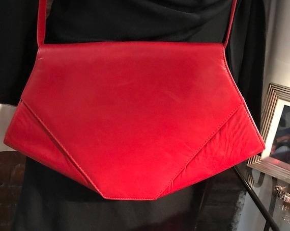 Lovely Vintage Charles Jourdan Red Leather Purse Shoulder Bag Crossbody Handbag Made in France