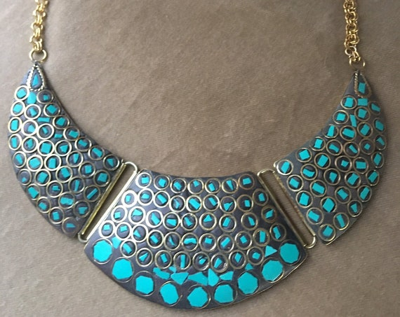Beautiful Vintage Brass & Turquoise Bibbed Choker Statement Necklace, Boho Tribal Egyptian Revival In the Style of Cleopatra!