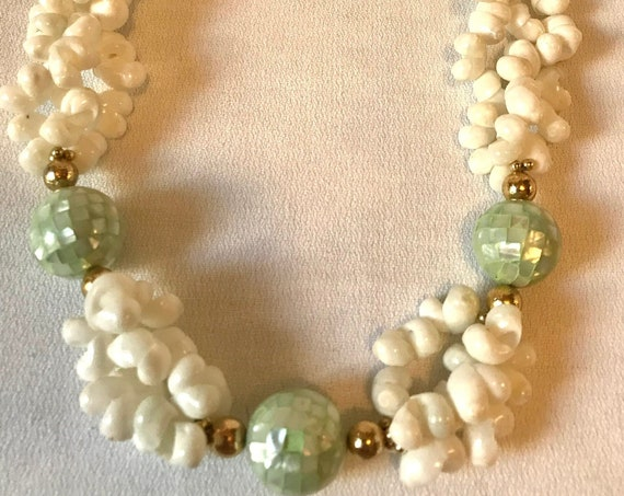 Tiny White Seashell Choker w/ Green Dyed MOP Mosaic Balls & Goldtone Spacers, Tropical Statement Necklace, Hollywood Regency Glamour Jewelry