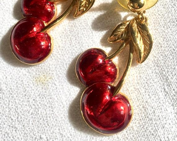 Sultry Red Enamel & Goldtone Bing Cherry Dangle Fruit Bling Earrings