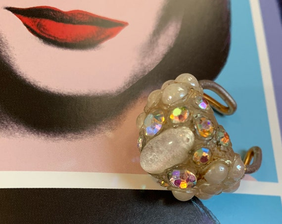 Neat Artsy Vintage Cocktail Ring, Faux Opal And AB Crystal cluster settling, Adjustable