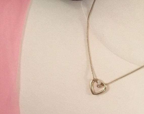 Sweet Avon rhinestone Heart Pendant Necklace