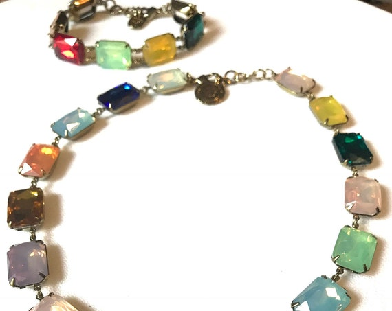 Rainbow Colored Fruit Salad Rhinestone Choker Necklace & Bracelet Set