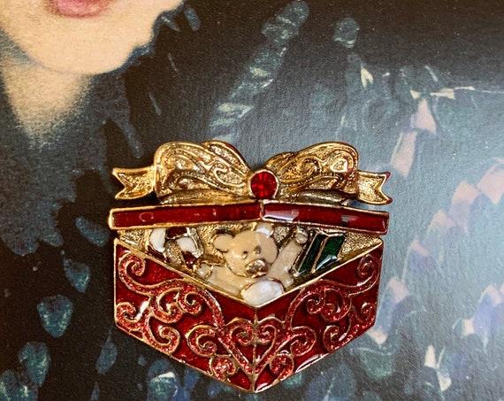 Nostalgic Teddy Bear Christmas Present Holiday Pin, Vintage Brooch,  Red Enamel & Rhinestone Gem on Goldtone