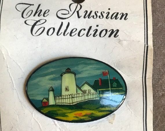 Lighthouse Pin Brooch Hand Painted in Russia