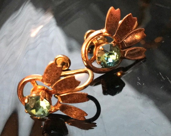 Van Dell NYC  Art Deco Aqua Gem & 12k Gold Filled Vintage Floral Screw Back Earrings , Hot Now Trending Designer Jewelry,Highly Collectible