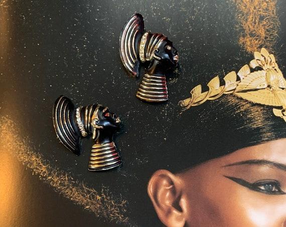 Art Deco Egyptian Revival Black Enamel & Rhinestone Goldtone Scatter Pins, Cleopatra NEFERTITI Vintage Brooch Set, Unisex Lapel Pins