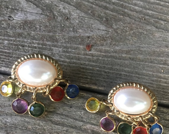 Amazing Vintage Faux Pearl Earrings with Rainbow Crystal Chandelier Dangles