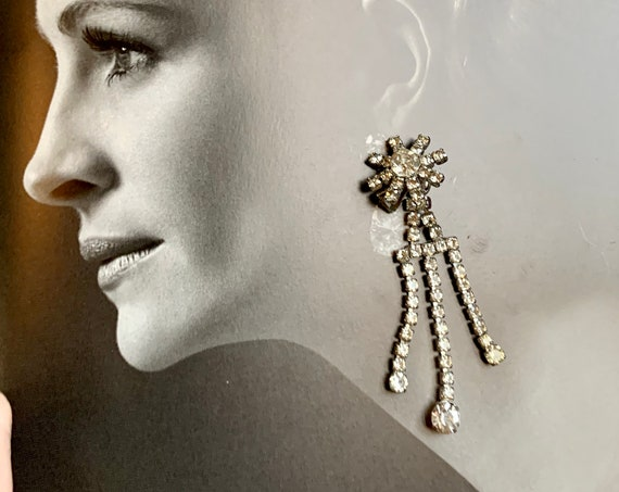 Sparkling Statement Earrings, Ice Rhinestone Starburst Floral Dangles in Time for New Years Eve, High Class Bling