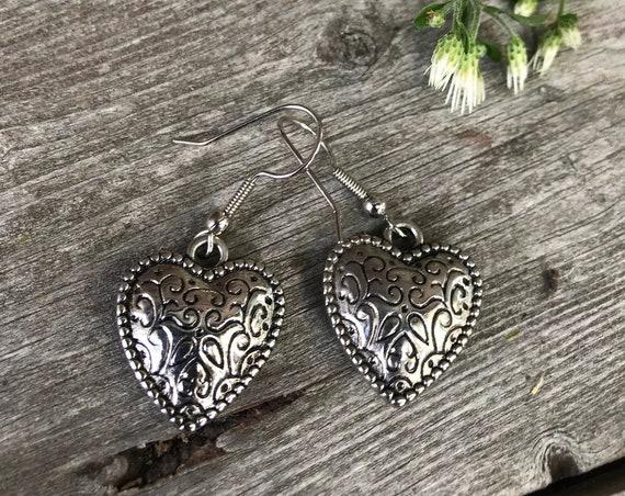 Antiqued Silvertone with Scrollwork Pretty Bohemian Heart Dangle Earrings, sweet romantic gift