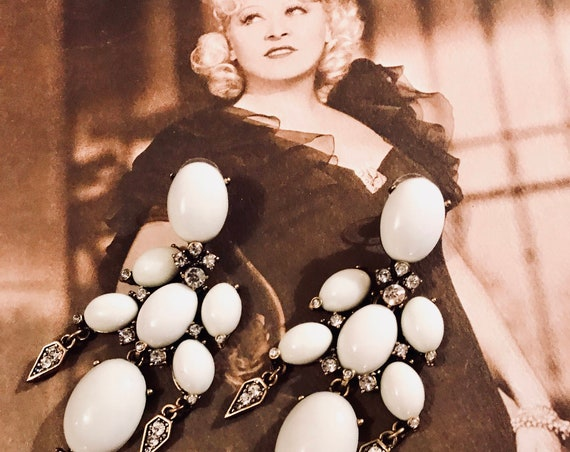 Baroque Saloon Girl Massive White Cabochon Chandelier Statement Earrings , Old Hollywood Glamour Burlesque Style 90s Costume Jewelry