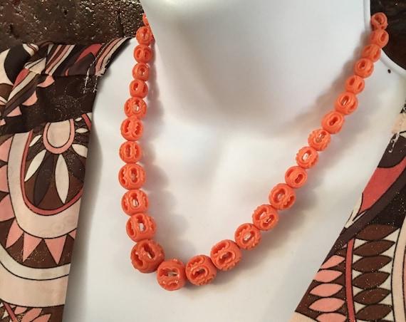 Dainty Orange Faux Ivory Filigree Bead Necklace, Mid Century Open Work Plastic Asian Holly Regency, Art Deco Orange Beads