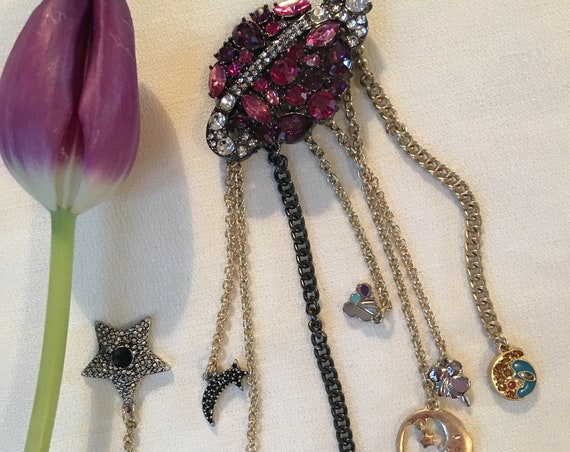 Out of this world! Pink Rhinestone PLANET MARS & Solar Charms Tassel Dangle Brooch, Trendy Unisex Lapel Pin, Awesome 80s 90s Glamour Jewelry