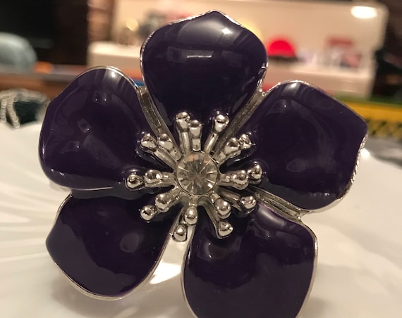 Awesome 80s Big Bold Beautiful Blossoming Flower Purple Enamel & Rhinestone Tropical Floral Clamper Statement Bracelet