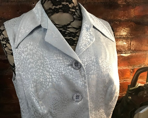 Cache by Alberto Makaki Baby Blue Snake Skin Satin Button Front Vest, 90s Glam, Unworn with Tags