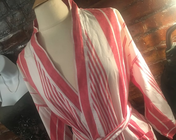Vintage 80s Christian Dior Monsieur Red Striped Cotton Bath Robe.  One size wrap closure, mint condition, Designer Fashion, Gift for him