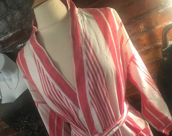 Christain Dior Monsieur Red Striped Cotton Bath Robe.  One size wrap closure, mint condition,Vintage Designer Fashion, Gift for Him, stylish