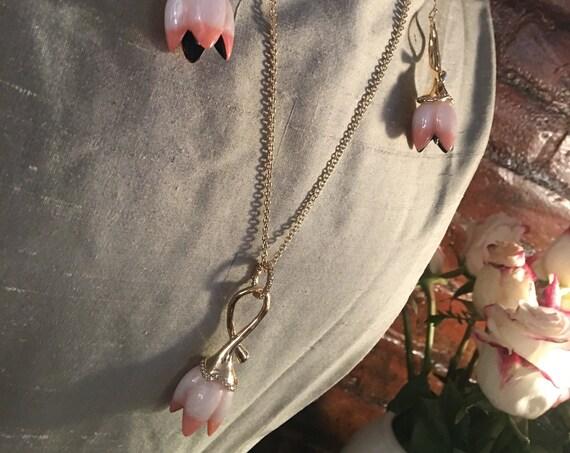 Alexis Bittar Pink Enamel Tulip Flower Necklace & Earrings Set 10k Gold Plate
