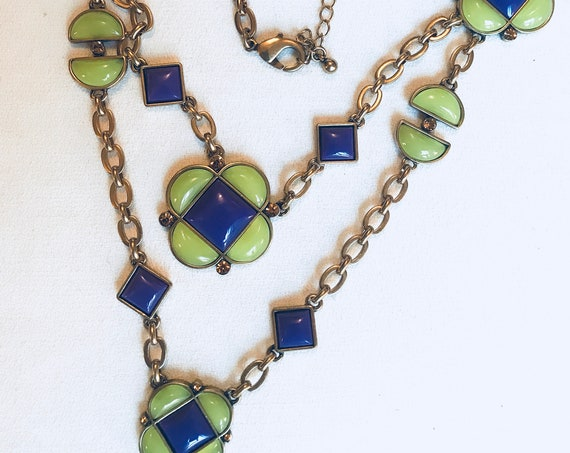 Purple & Yellow Enamel and Bronze Chain Necklace by Oscar de la Renta, A Contrasting Fusion of Art Moderne and Gothic Revival