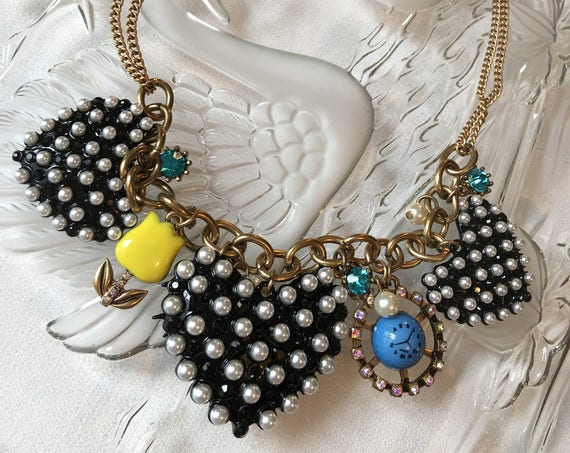 Ridiculously Cute (sort of weird) Punk Rock Pop Art faux Pearl Black Enamel Heart Charm Necklace Choker with Tulip & clock Unworn Old Stock