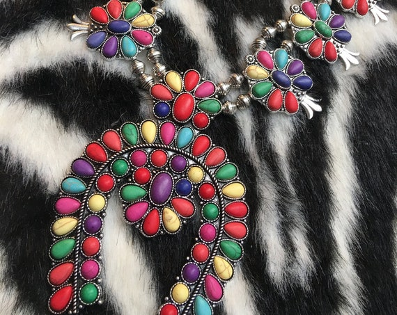 Colorful Rainbow Southwestern Squash Blossom Style Statement Necklace, MTV generation Big Bling Runway POP Fashion 90s Costume Jewelry