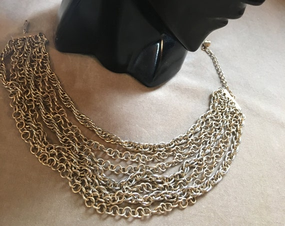 A Fabulous Seven Multi Strand Mid Century Modern Goldtone Draping Choker Collar Statement Necklace