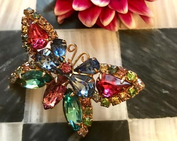 A Wonderful Rainbow Butterfly Pin Of Navette Rhinestones & Fancy Goldtone, Hollywood Regency Vintage Brooch