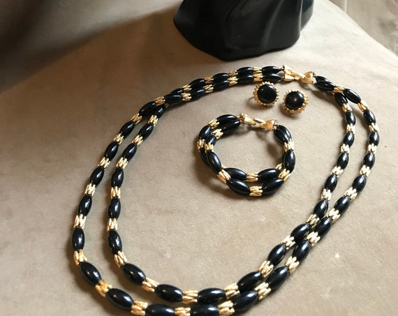 Vintage Crown Trifari Set, Black and Gold Tone Necklace Bracelet Earrings 70s CostumeJewelry, Now Trending Statement Jewelry