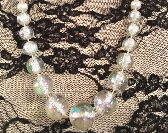 Atomic AB Crystal Lucite Bubble Beads, Cocktail Party Necklace, Classic 60s Glamour Jewelry