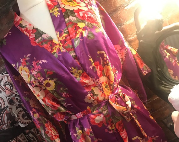 Purple and Yellow  Floral Kimono Styled Robe, Spring Break Summer Vacation cover up lounger