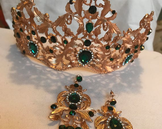 """For your Princess Green Or RED Glass & Blinding Crystal CROWN Tiara for Beauty Queen with matching 3.5"""" Runway Statement Earrings!"""