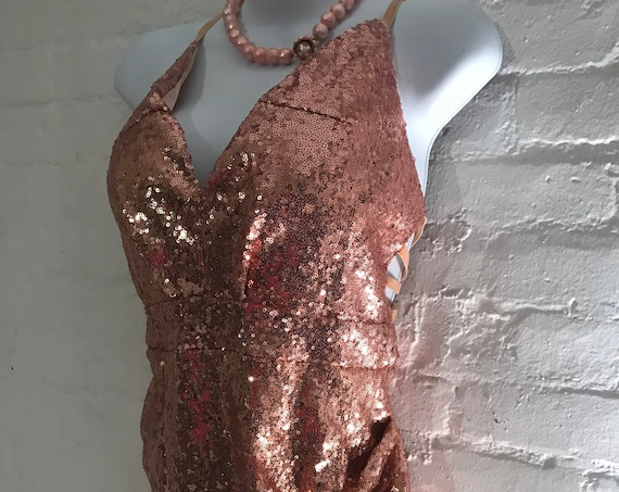 Coppery Gold Sequined Semi Backless Stretch Party Dress