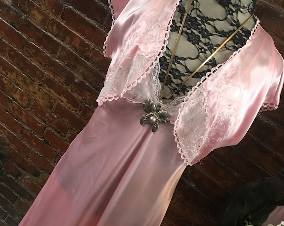 Luxurious Satiny Pink Charmeuse Embellished Designer Bolero Robe & Gown Set by Madison Studio Intimates Pretty Pink Nightie