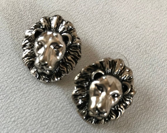Vintage Silver Majestic Lion Head Statement Earrings, Regal 80s Glamour Jewelry, Leo Zodiac sign too!