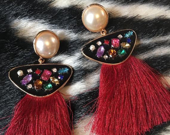 BIG BOLD Silky Red Tasseled Enamel & Rainbow Gem Dangle Tassel Earrings, Trending 90s Glamour Jewelry Statement Earrings!
