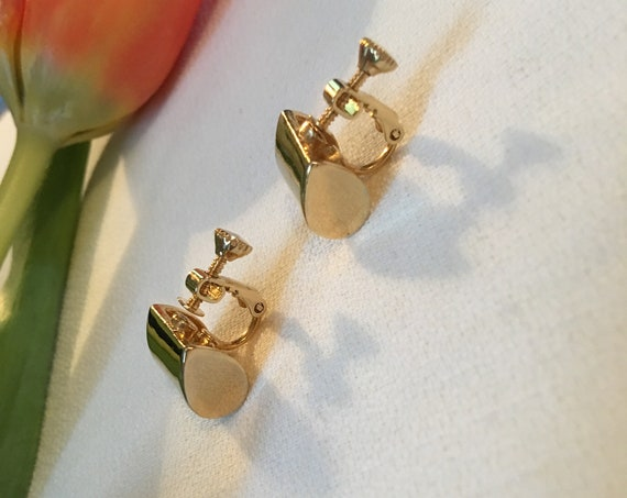 Vintage Geometric Modernist Earrrings with Adjustable Tension Screw Back Clips, Chic Classic Jewelry
